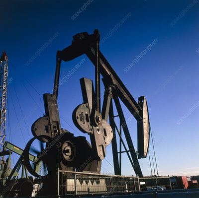 View of a jack pump at an oil well