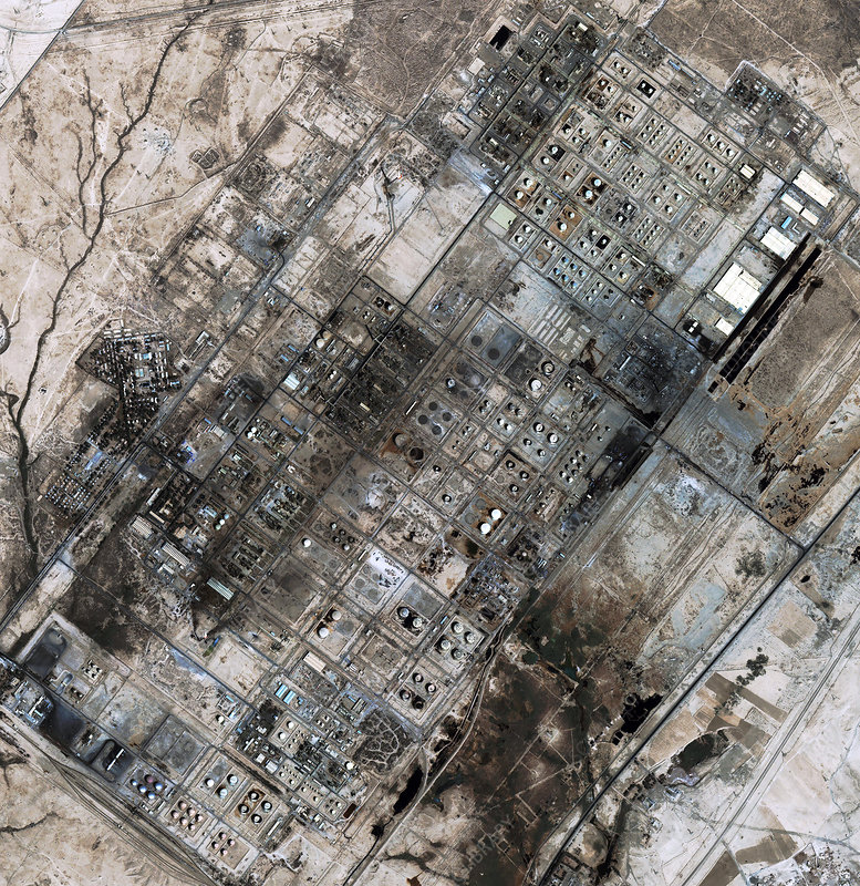 Baiji oil refinery, Iraq, satellite image