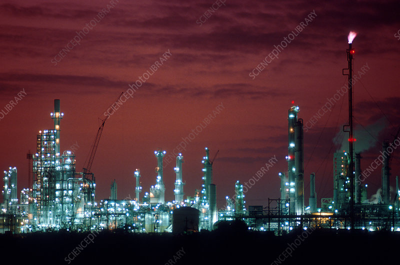 Petrol chemical plant at night
