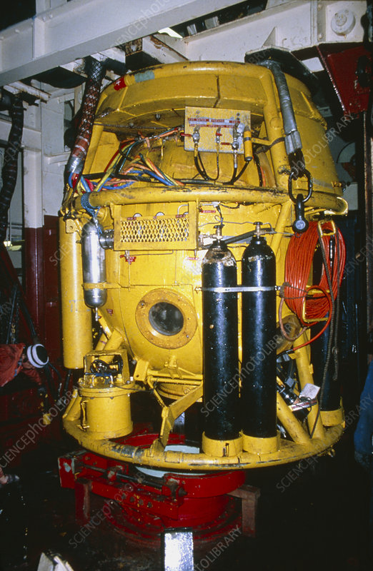 A pressurised North Sea diving bell
