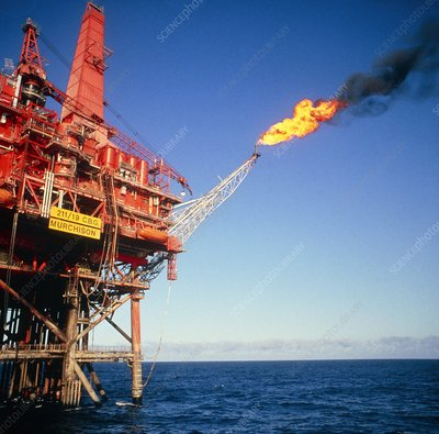 Oil production rig in North Sea