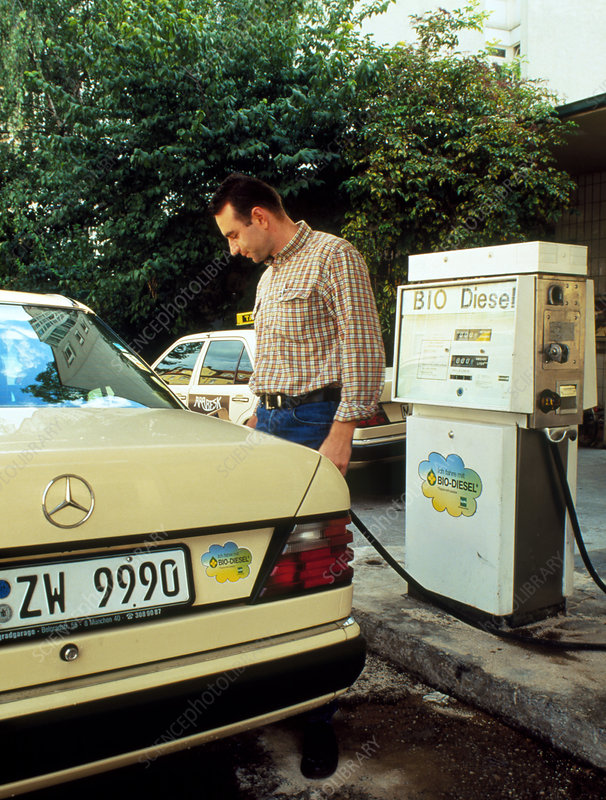 Man filling car with biodiesel