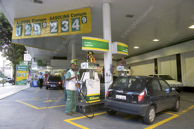 Ethanol and petrol fuel station, Brazil