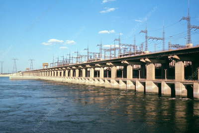Outflow of hydroelectric dam, Volga, Russia