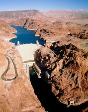 The Hoover Dam on the Colorado River.