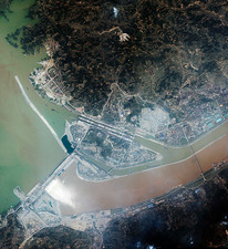 Three Gorges dam, China, satellite image