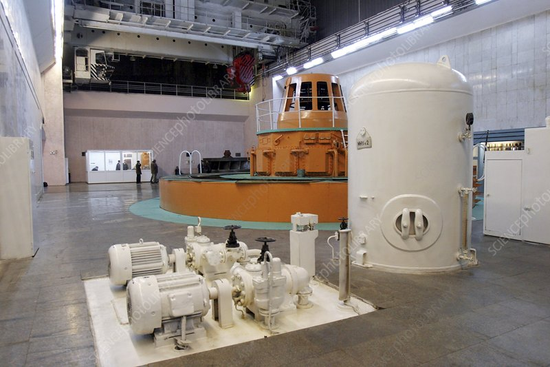 Hydroelectric power station turbine room