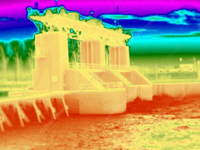 Hydroelectric dam, thermogram