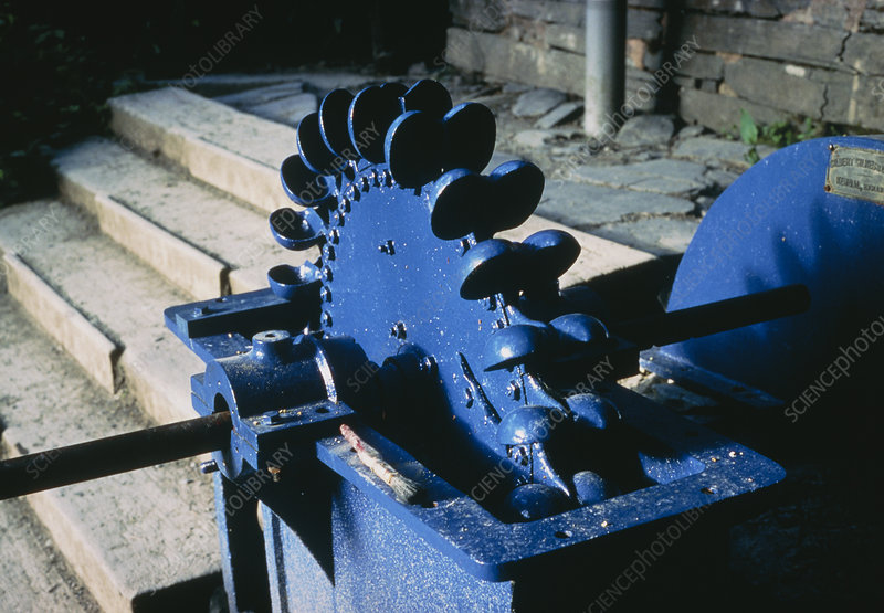 Pelton wheel, used to power a water-driven turbine
