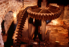 Gearing system inside a water mill
