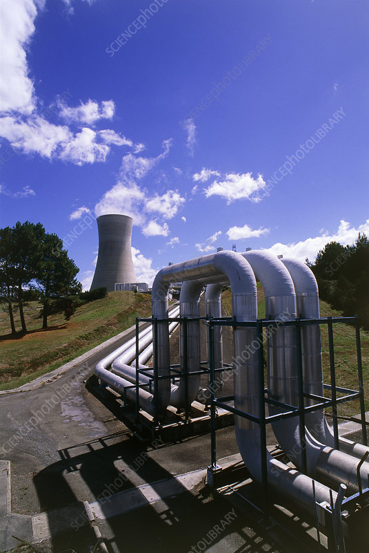 Pipes & cooling tower at geothermal power station