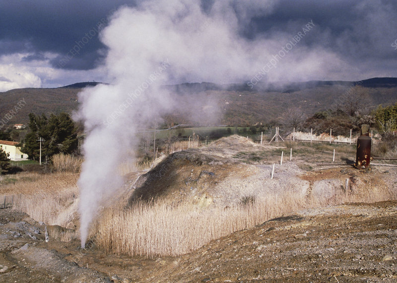 Underground steam escaping into a field