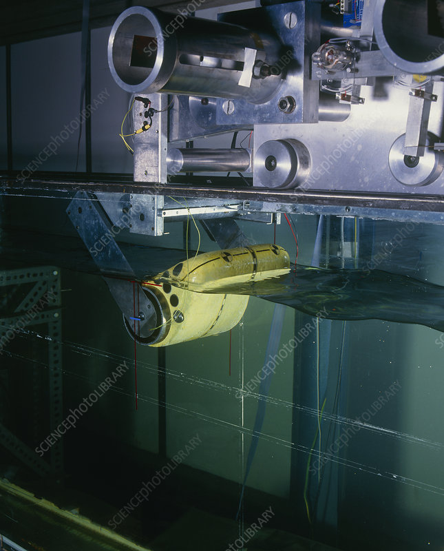 Test of 'Salter's Duck', wave power device in tank
