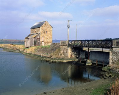 Sluice gates and tide pool of a tidal mill.