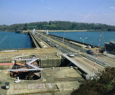 Rance tidal power barrage, France.