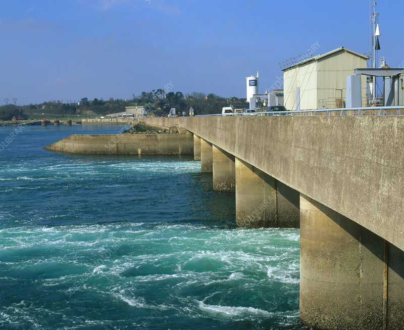 Water entering through tidal barrage
