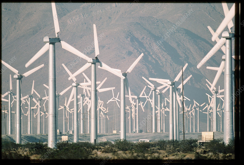 Wind farm producing electricity, San Gorgonia Pass