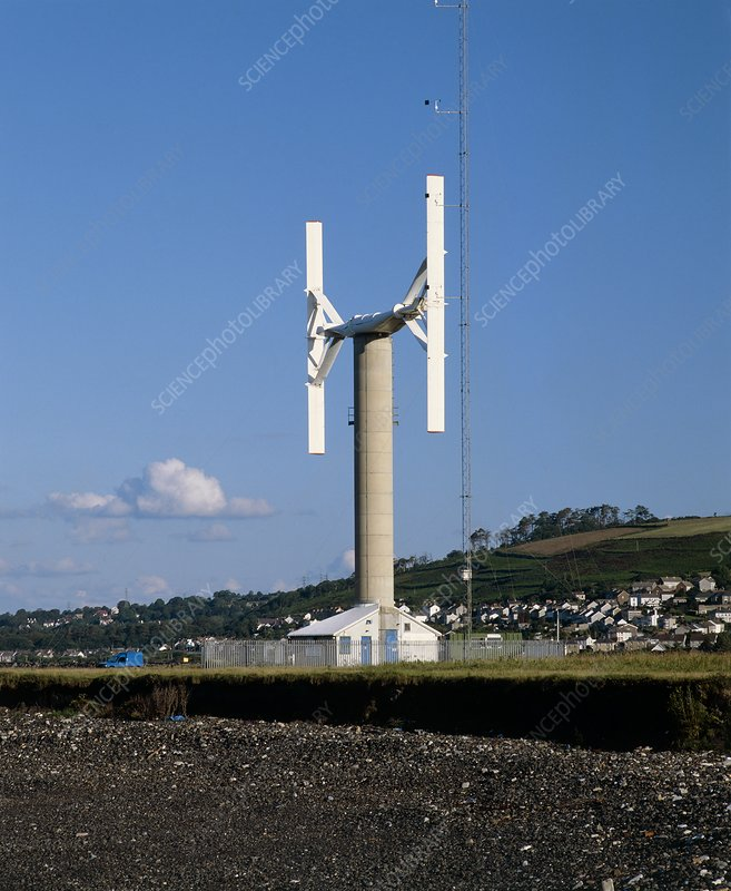 Experimental vertical axis wind turbine - Stock Image - T146