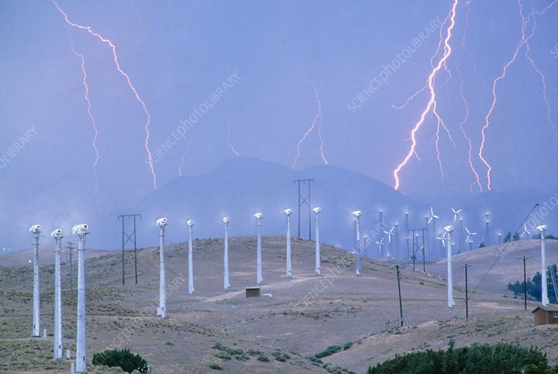 Lightning over wind turbines, Barstow, California