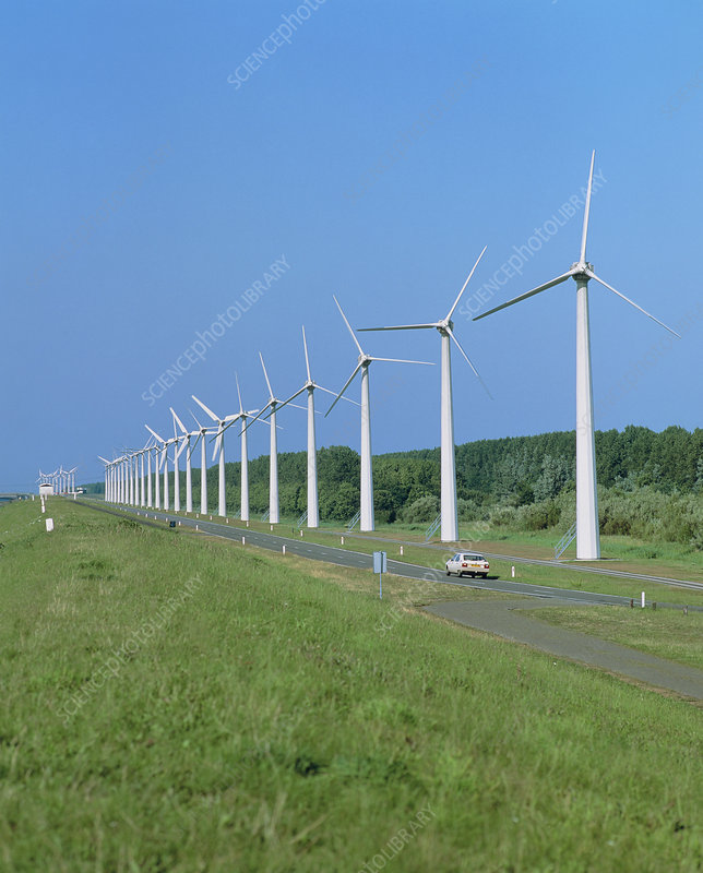 Wind farm next to road, Leylstad, Holland
