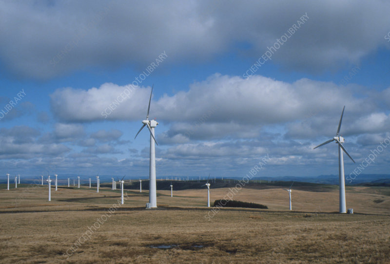 Some of the turbines forming a wind farm in Wales