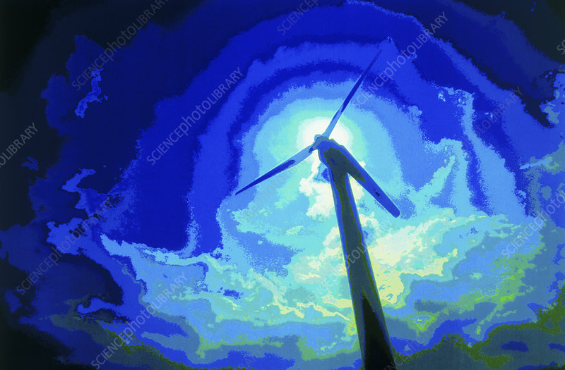 Computer graphic image of a wind turbine