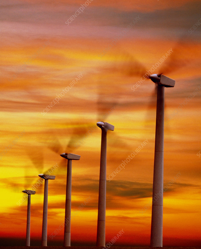 Computer graphic of wind farm at sunset