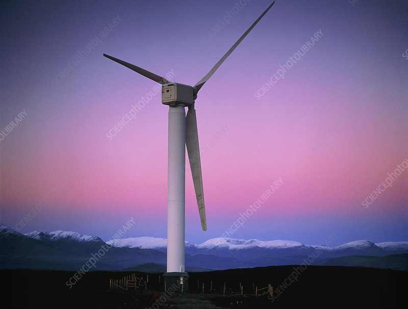 View of a wind turbine in Cumbria, England