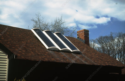 Solar panels for water heating on roof of house