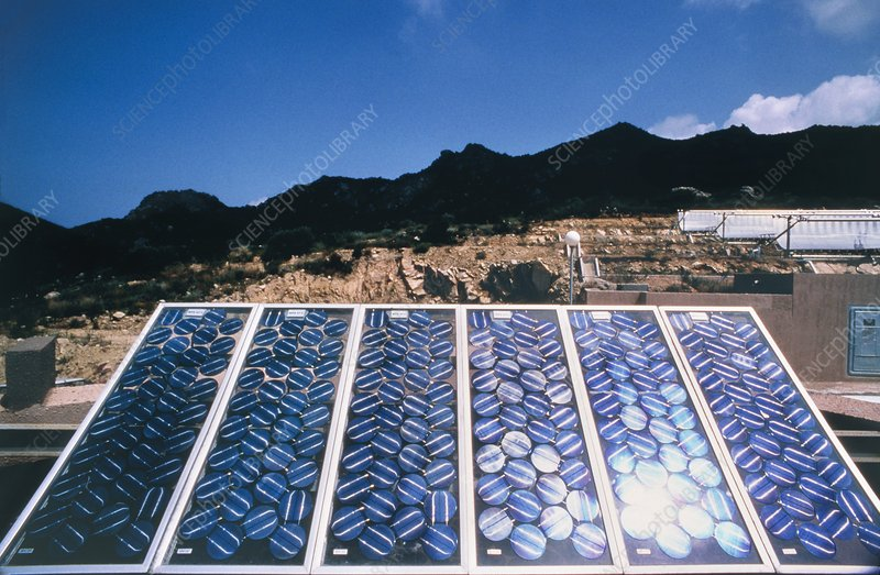 Panel of solar cells at power station, Corsica