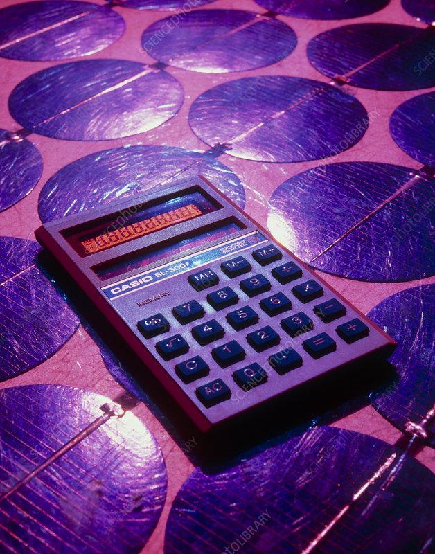 Solar powered calculator on photovotaic cells