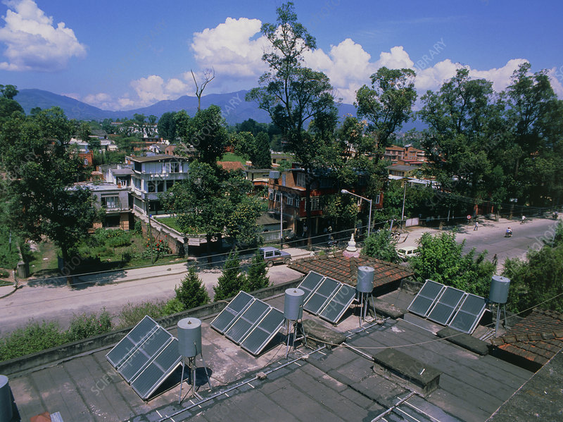 Solar water heaters on a rooftop in Nepal