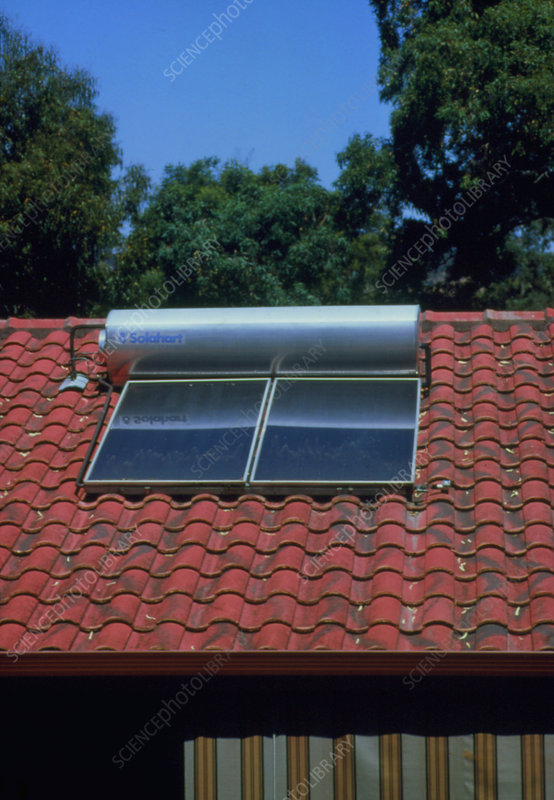 A roof mounted solar heating system