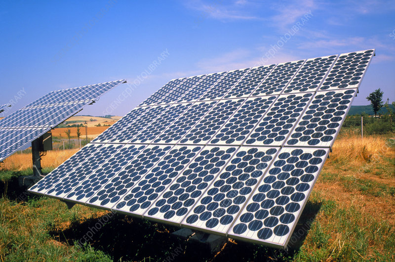 amorphous silicon panels. The first silicon photovoltaic
