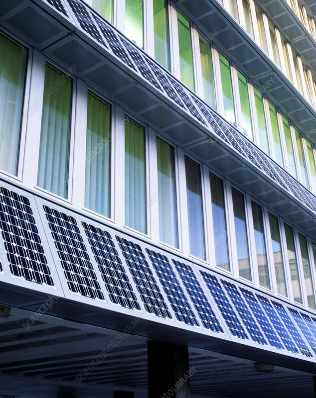 Solar panels integrated into face of building
