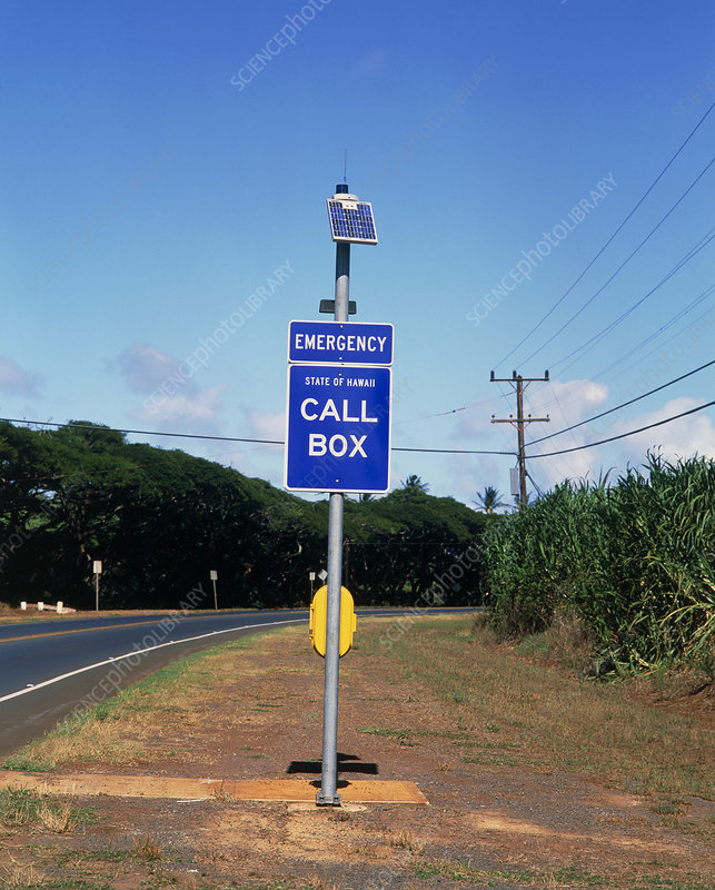 Solar powered emergency telephone, Hawaii, USA