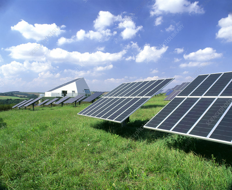 Photovoltaic panels at solar power station