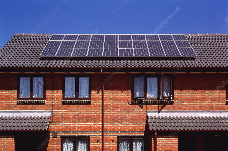 Solar panels on the roof of terraced houses