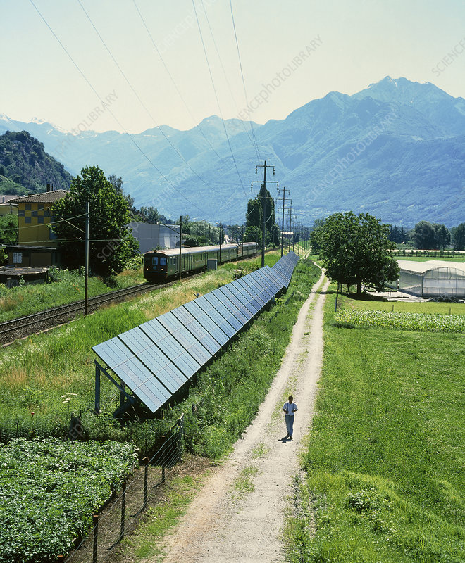 Solar power plant next to a railway line