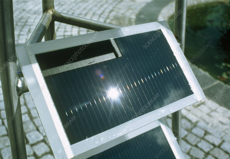View of an amorphous solar cell