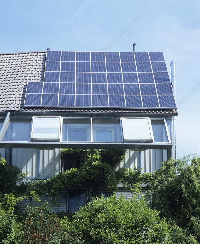 Photovoltaic cells on house roof