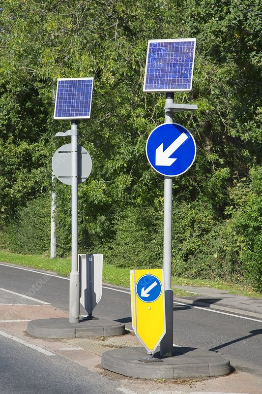 Solar panels at a traffic island, UK