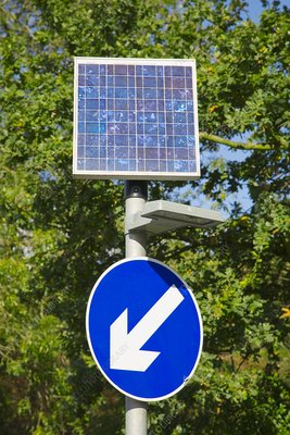 Solar powered road sign, UK