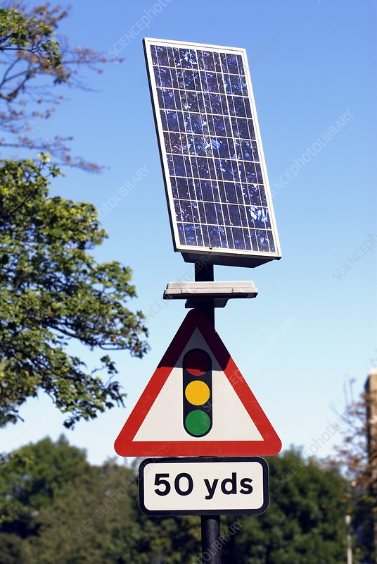Solar Powered Road Sign Uk Stock Image T152 0620