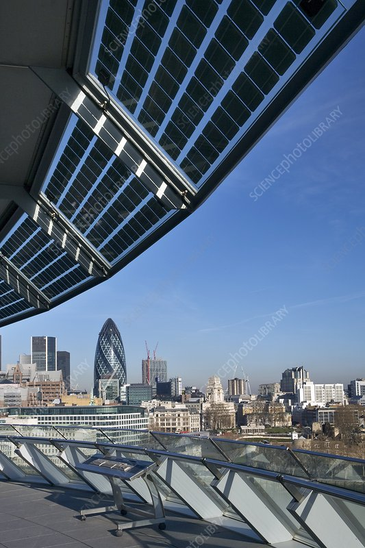 Solar panels on City Hall, London, UK