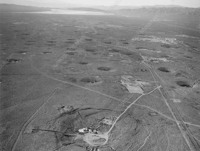 Subsidence craters at Nevada atom bomb test site