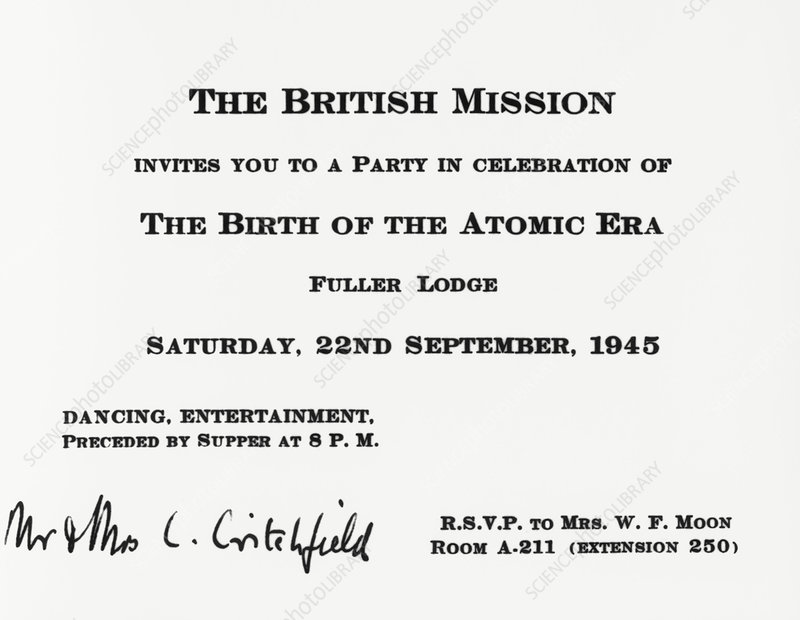 Invitation to British Mission party at Los Alamos