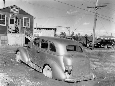 Car stuck in mud, Los Alamos laboratory, 1940s