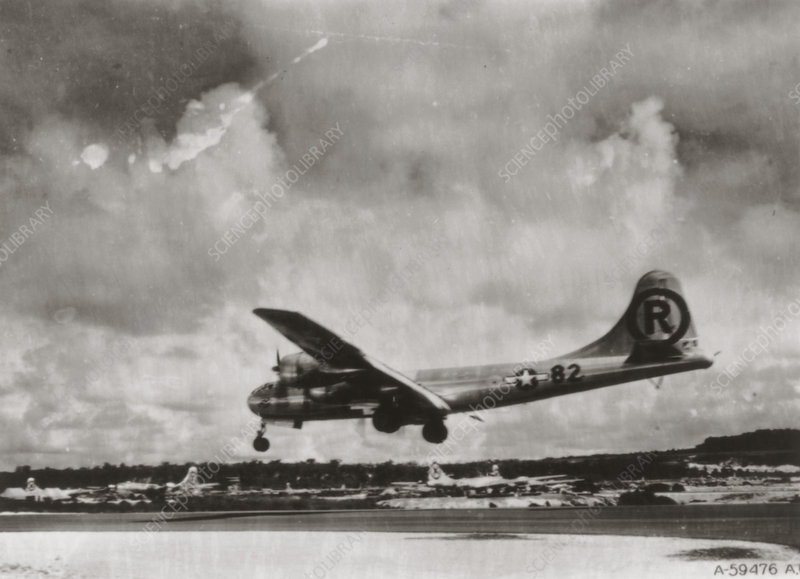 'Enola Gay' landing after first atom bomb mission