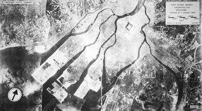 Hiroshima after atom bomb, aerial view
